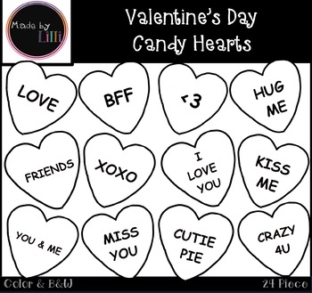 Valentine's Day Candy Hearts Clipart.