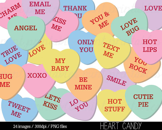 Heart Clipart, Heart Candy Clip Art, Sweethearts Candy Clipart.