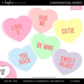 FREE Conversation Hearts Clipart {A Hughes Design}.