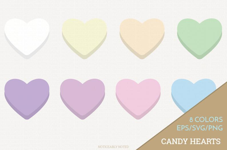 Candy Hearts Vector, Conversation Hearts Clipart, Heart SVG, Valentine's  Day Printable, Love Print and Cut (Design 11605).