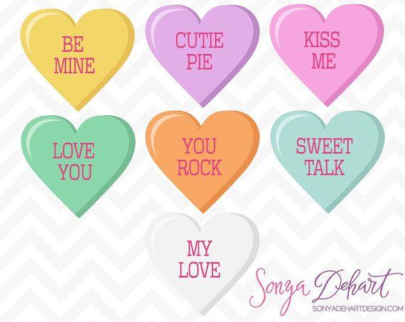 Valentine Conversation Hearts Clipart Set Commercial Use Clip Art.