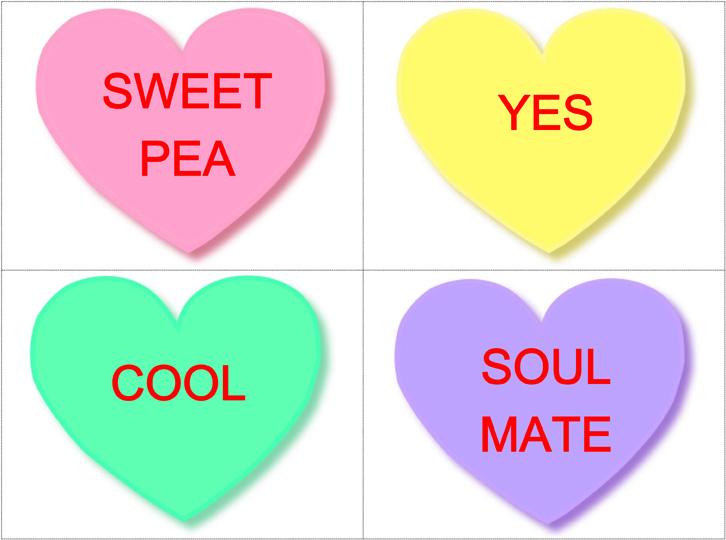 Valentine's Day Editable Conversation Heart Flashcards *Freebie.