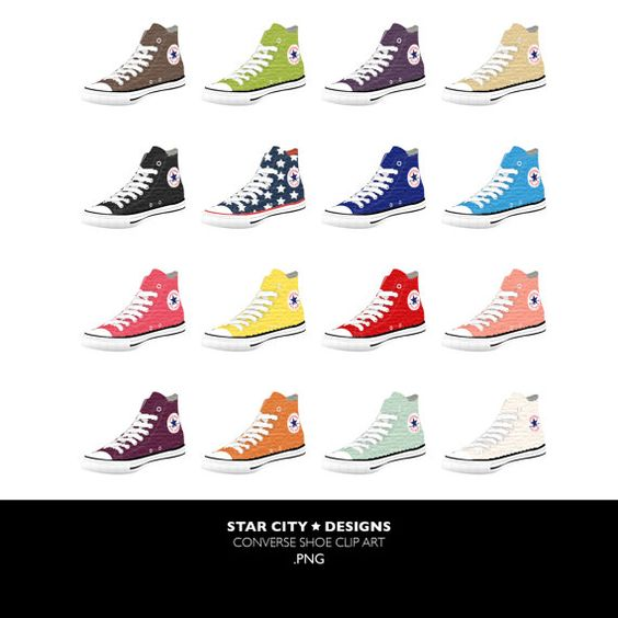 Chuck Taylor Converse Shoe Clip Art Clipart by StarcityDesigns.