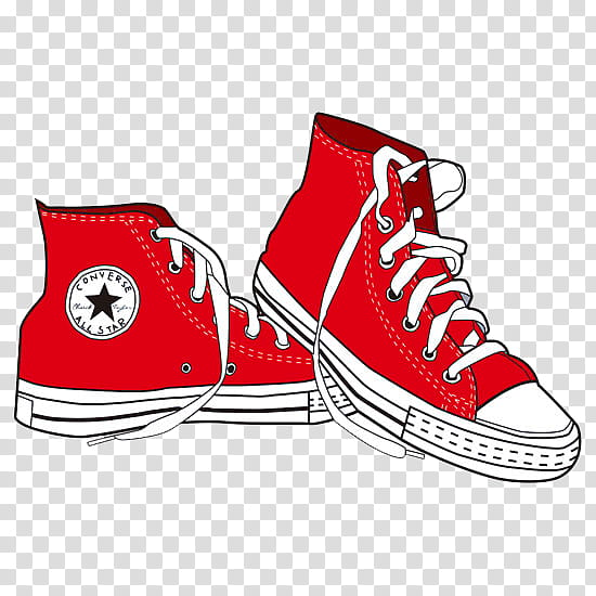 S, pair of red Converse high.