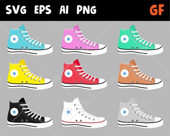 Converse clipart, shoes vector clipart, Sneakers Clipart, Shoes.