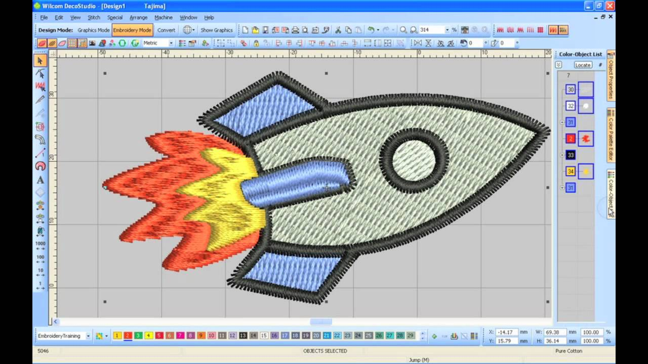 Wilcom DecoStudio e2: Convert JPG to EMB (embroidery).