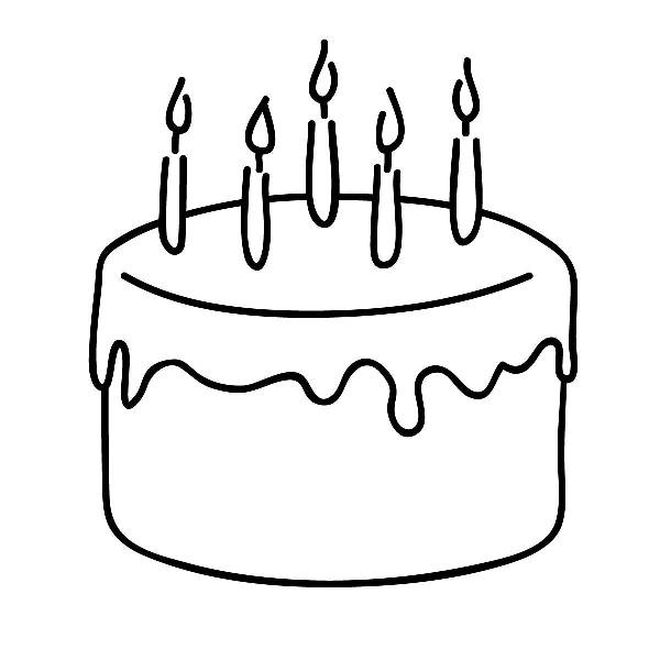 Birthday cake clip art free black and white.