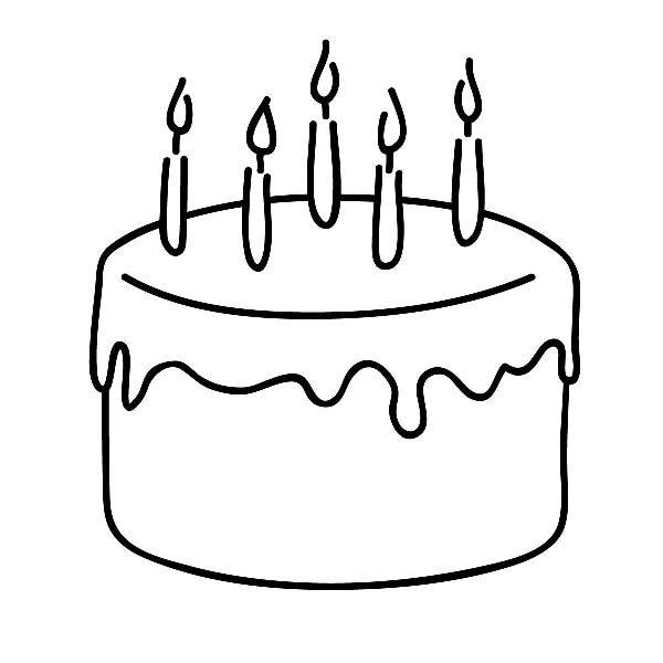 Birthday cake clip art free black and white.