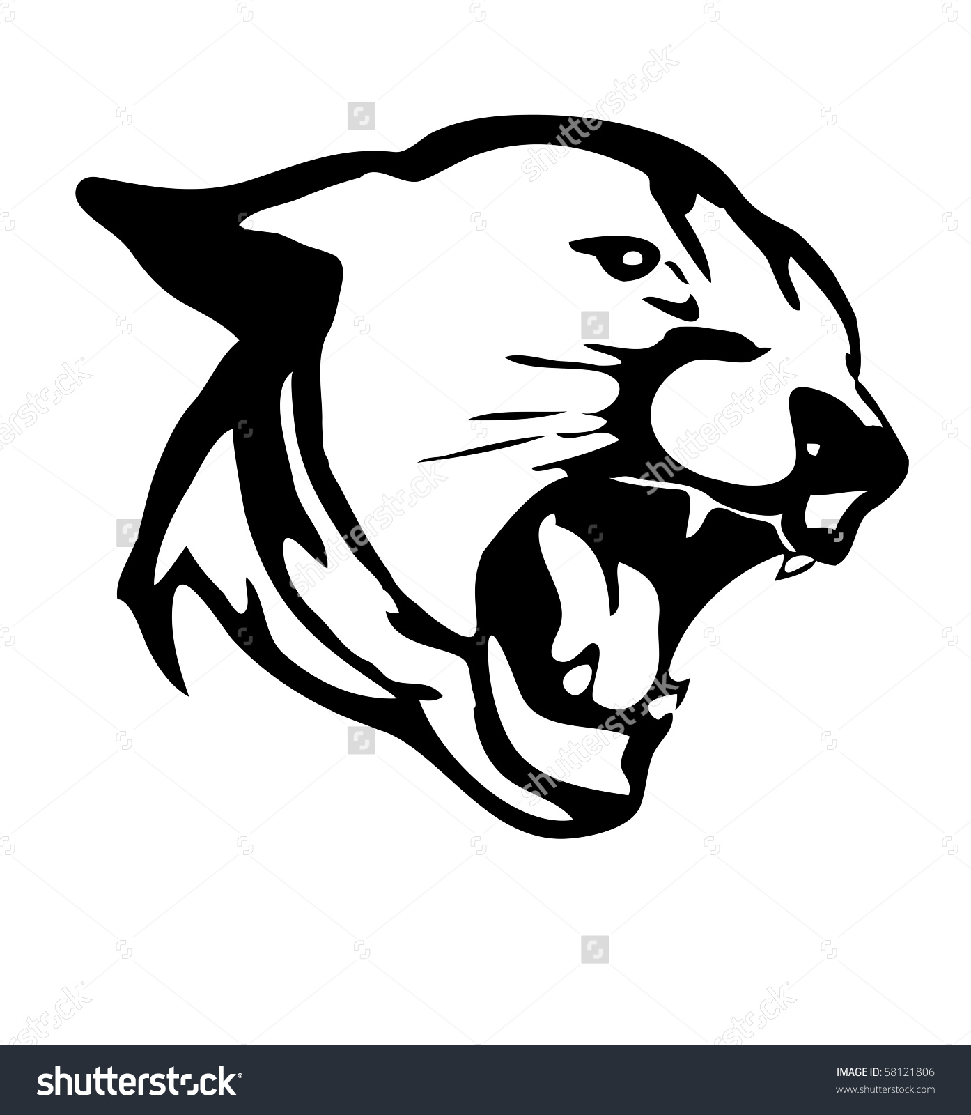 Hand Drawn Panther Converted Clipart Stock Illustration 58121806.