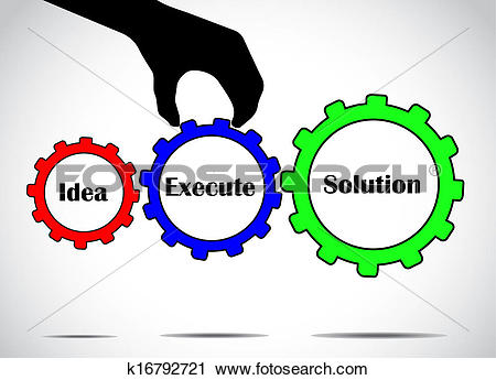 Clipart of converting idea into solution by executing plans.