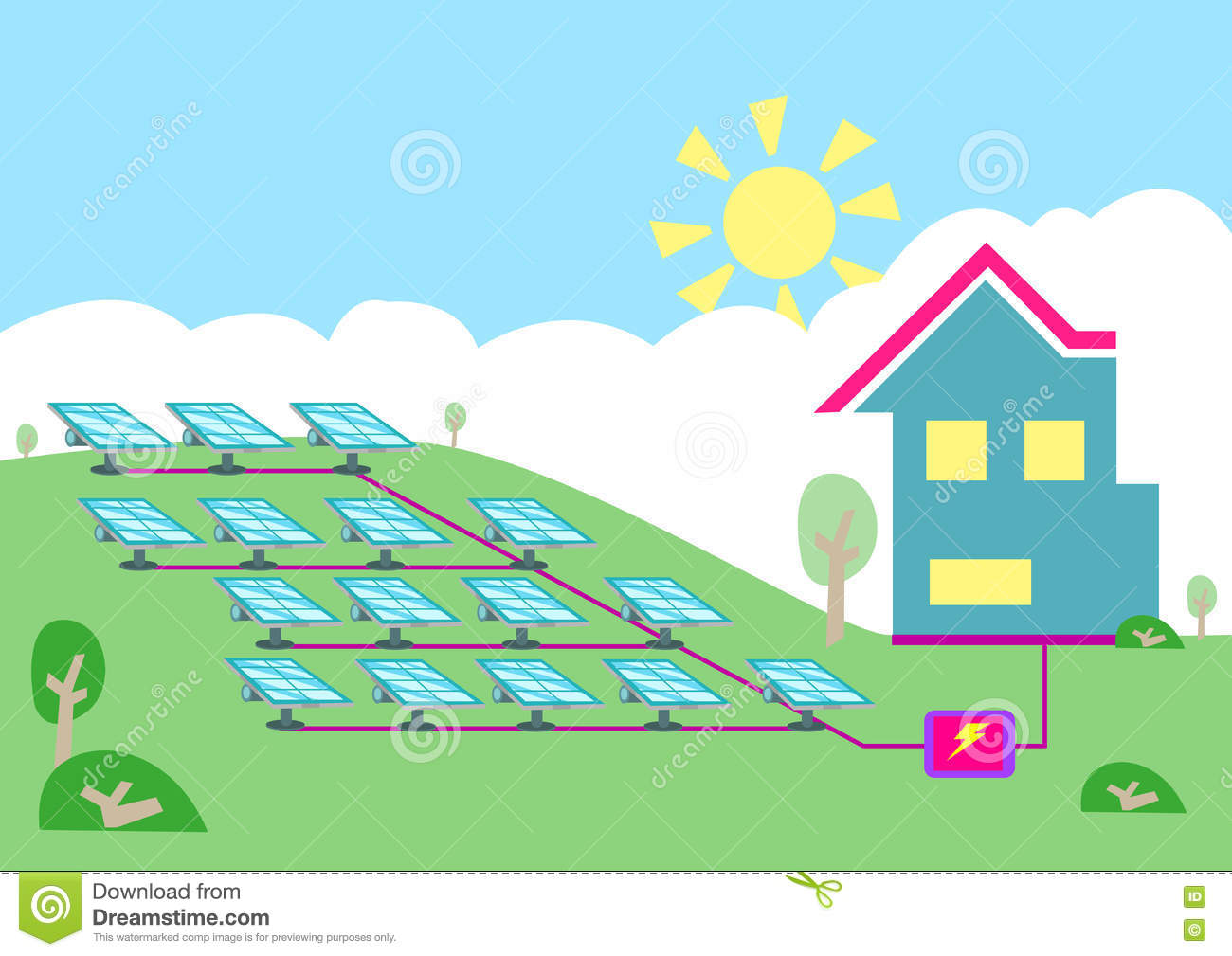 An Array Of Solar Powered Cell Converting Sun Energy Into.
