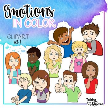 Emotions in color clipart set 1: Face and Body.