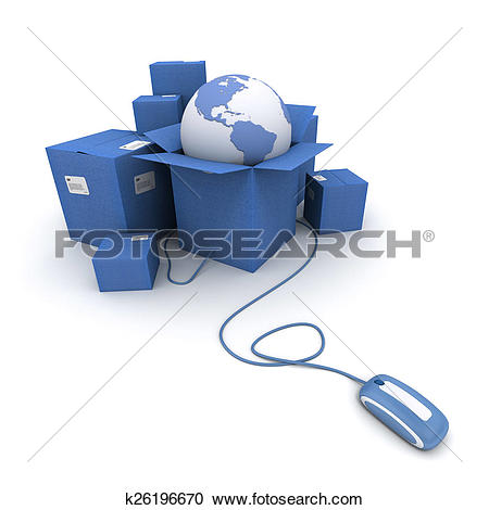 Stock Illustrations of International online conveyance in blue.