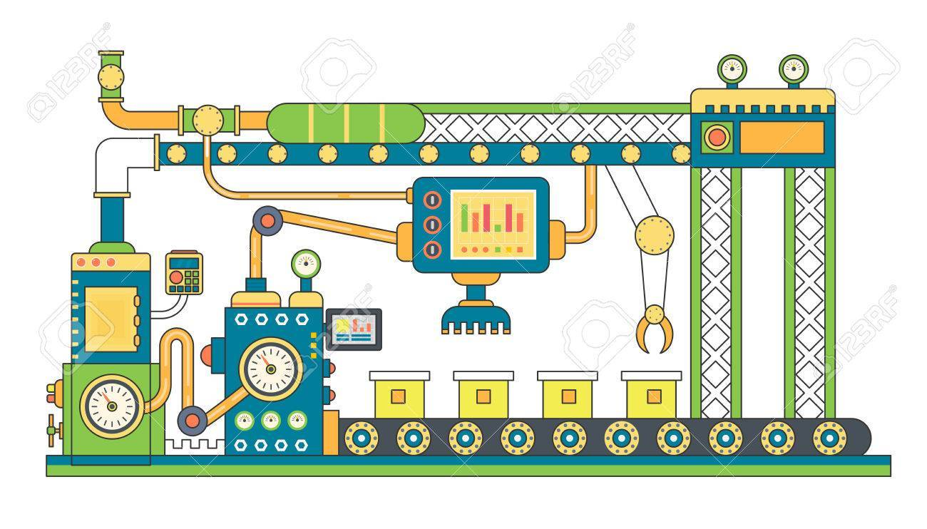 Industrial conveyor belt line flat vector illustration. Conveyor.