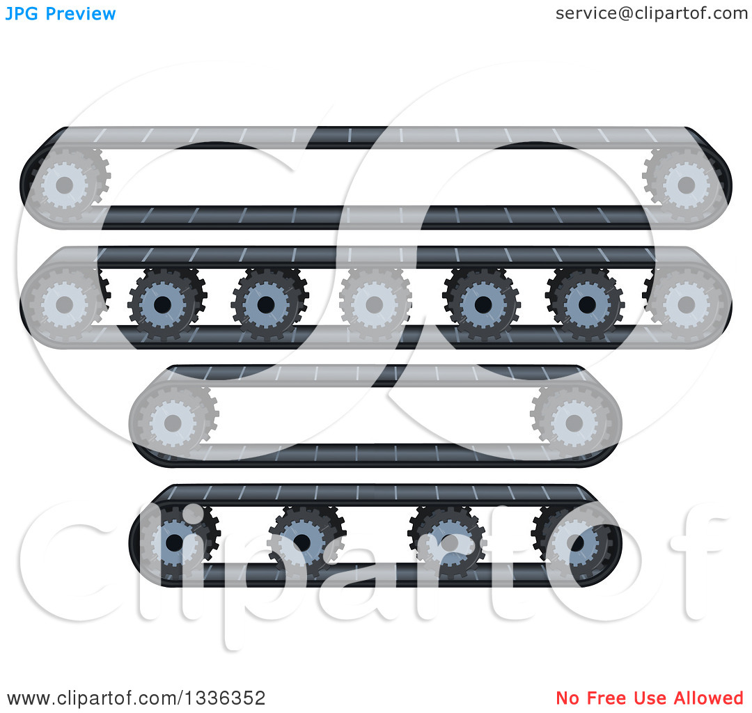 Clipart of Factory Conveyor Belts and Wheels.