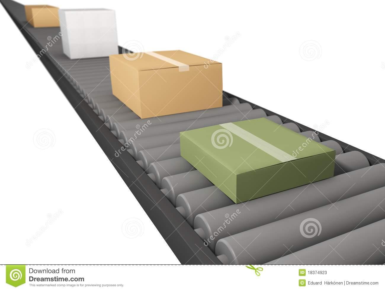 Clipart cartoon box on conveyor belt.