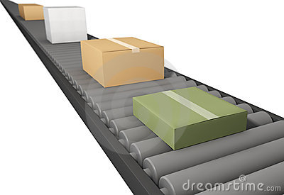 Cardboard Boxes Conveyor Belt Stock Illustrations.
