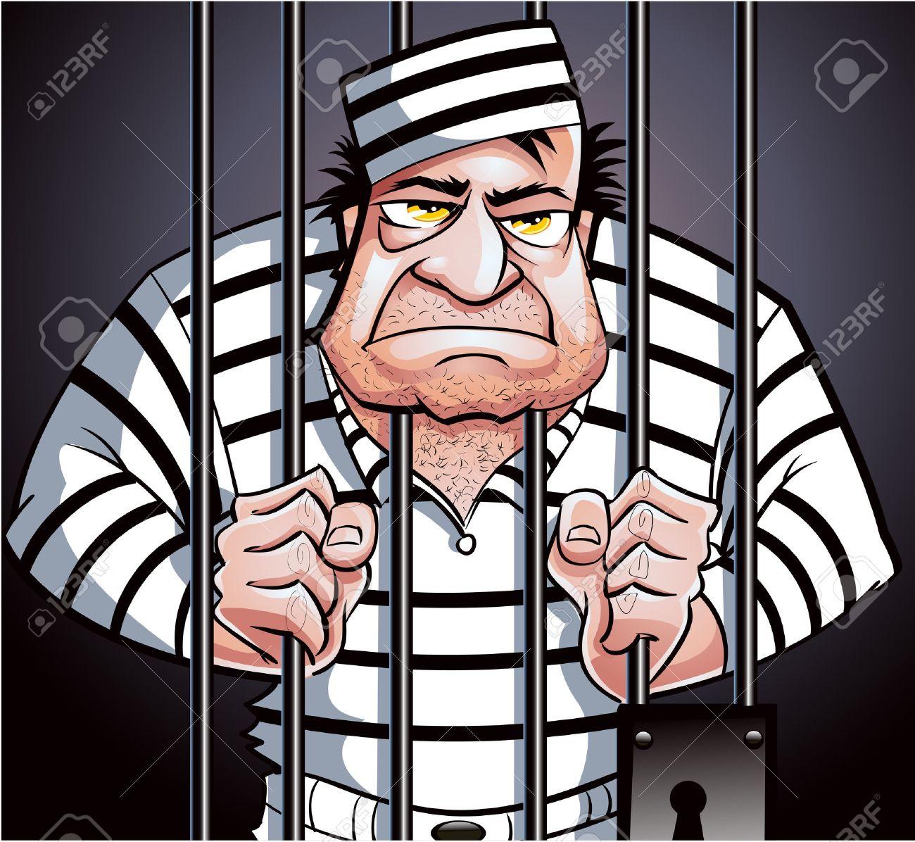 Prisoner behind bars.