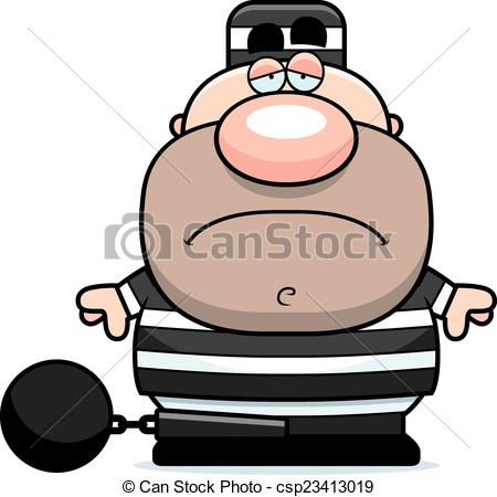 Cartoon Sad Prisoner.