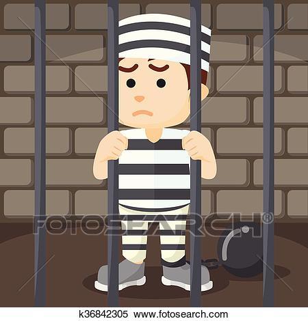 Convict inside jail Clipart.