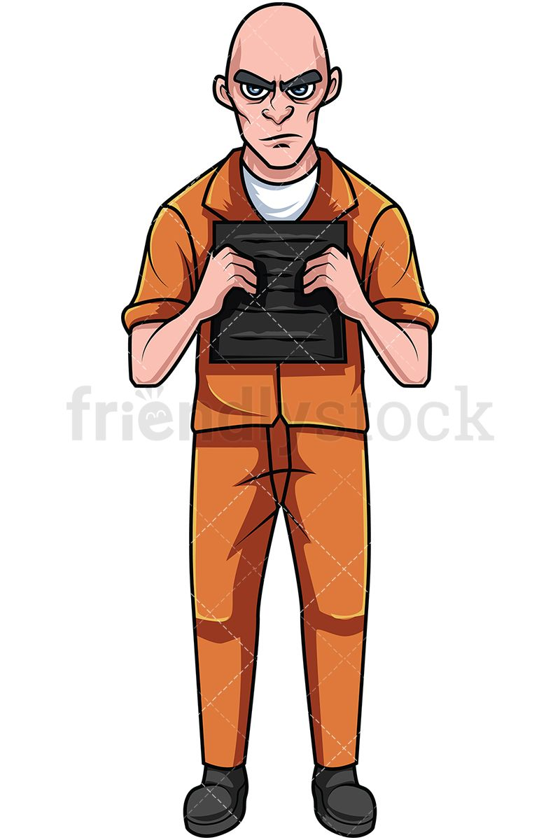Convicted Felon In Orange Prison Jumpsuit Holding Plate in.