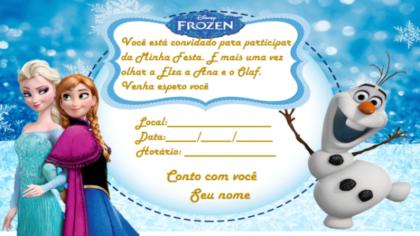 convites de aniversário da Frozen com personagens principais.