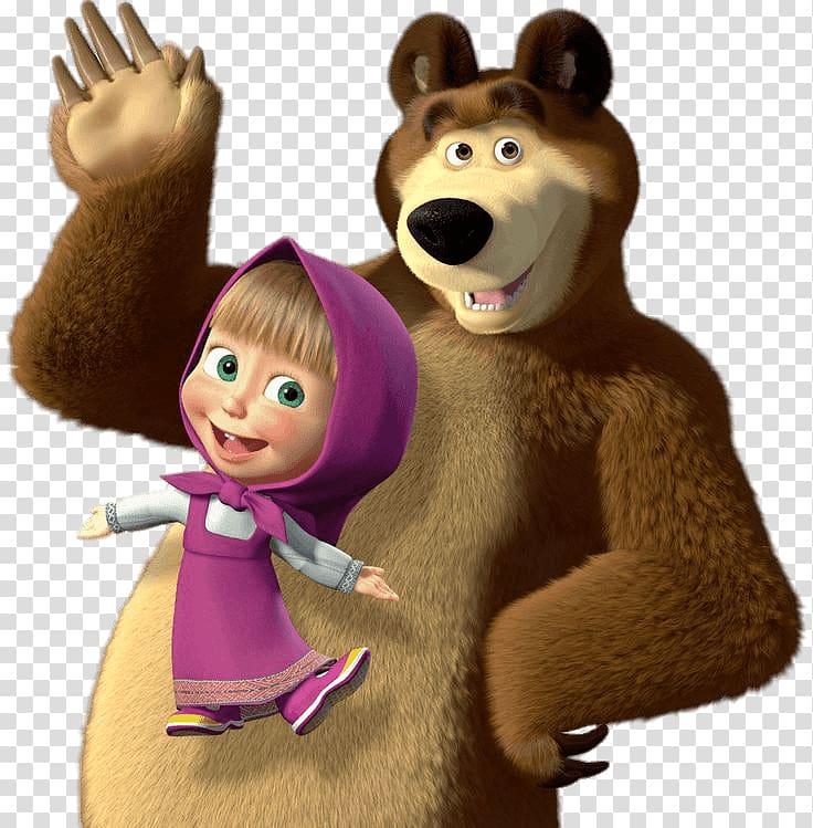 Bear and girl , Masha and the Bear Saying Hi transparent.
