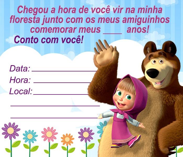 13 Convites da Masha e o Urso para Editar.