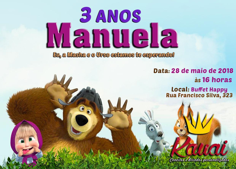 Convite digital Masha eo Urso (grátis plaquinha digital).