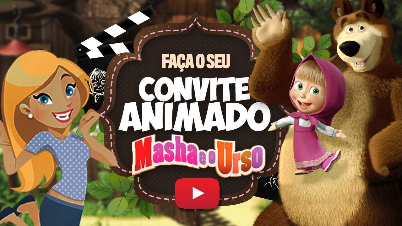 Convite Animado Masha e o Urso Grátis.
