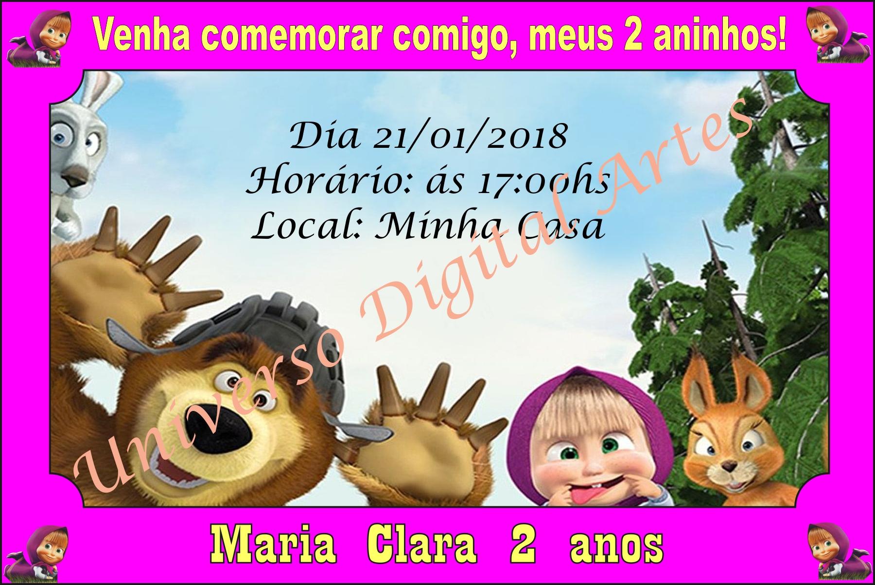 Convite Masha e Urso Digital.