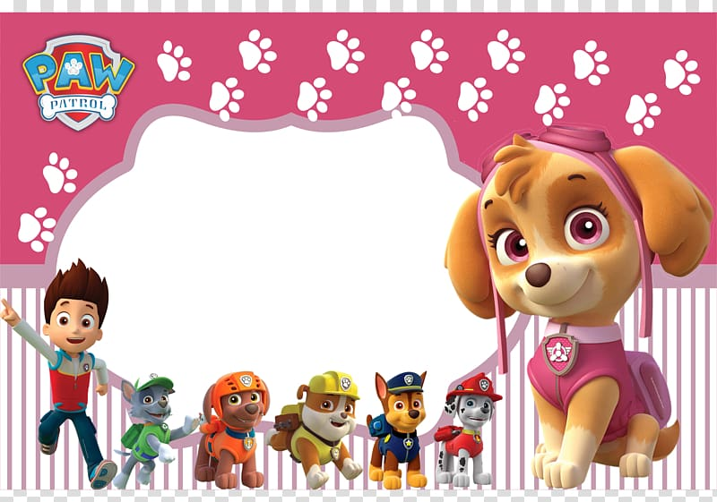 Paw Patrol , Convite Birthday Party Patrol Pink, Birthday.