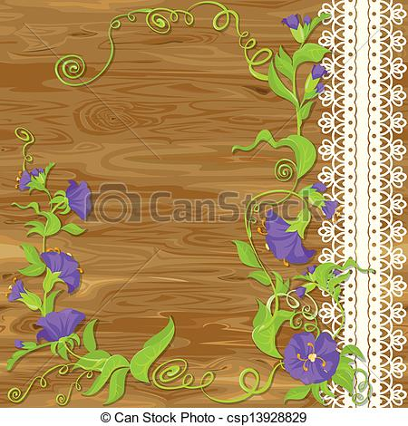 Vector Illustration of Convolvulus Flowers on wood baskground with.