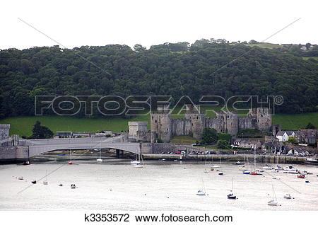 Clip Art of Conwy castle. k3353572.