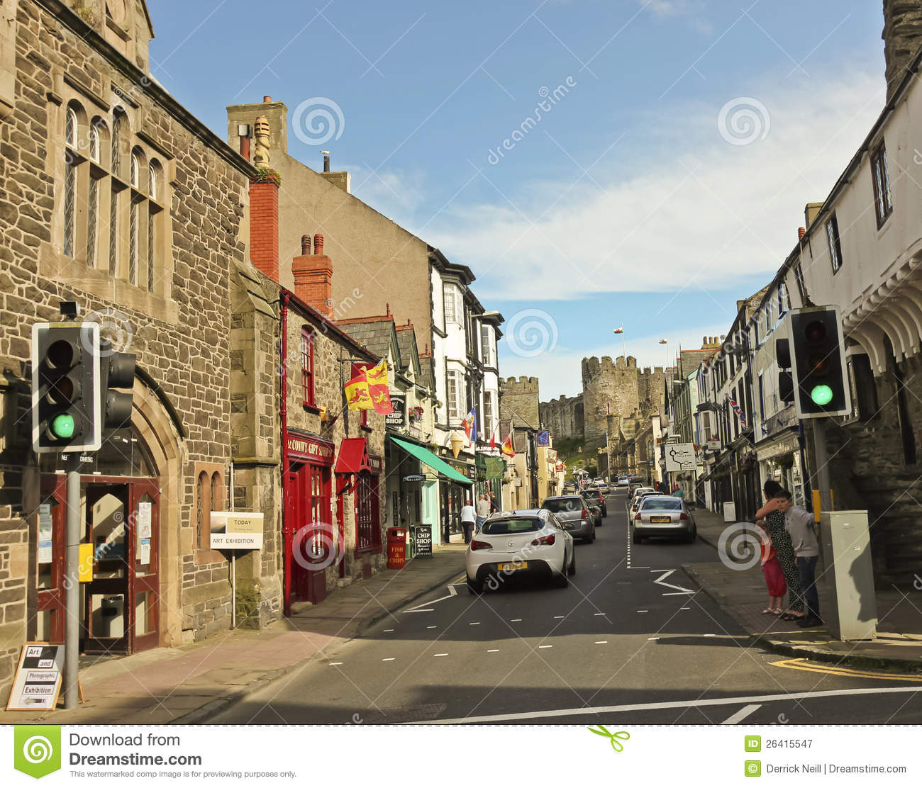 A Look Down Castle Street, Conwy, Wales Editorial Photography.