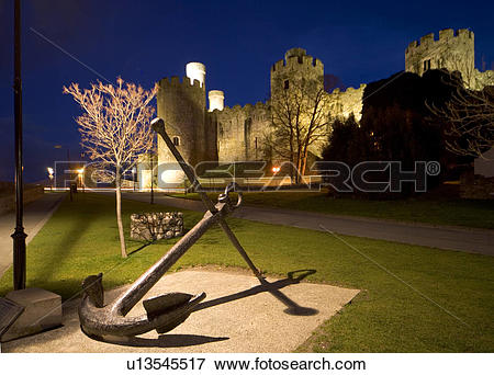 Picture of Wales, Clwyd, Conwy Castle, Anchor in front of Conwy.