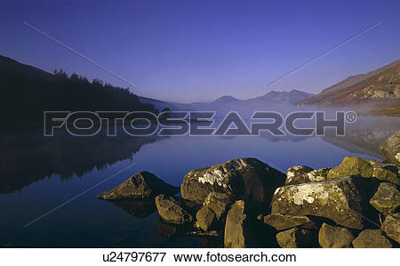 Picture of Wales, Conwy, Capel Curig, Serenity over Llynau Mymbyr.