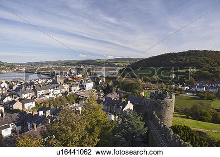 Stock Photo of North Wales, Conwy, Conwy, Town and medieval Castle.