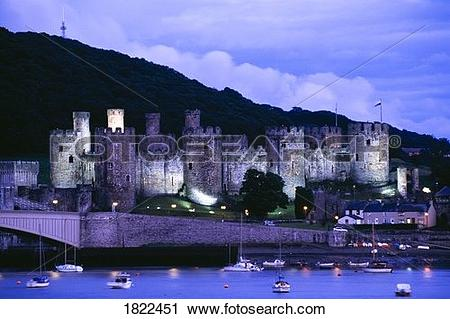 Stock Photography of Conwy castle at night, Wales 1822451.