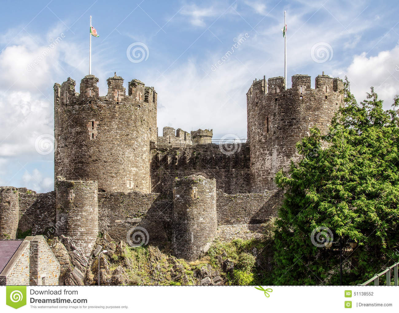 Two Towers Of Conwy Castle Stock Photo.