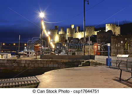 Stock Images of Conwy castle at night time, North Wales.