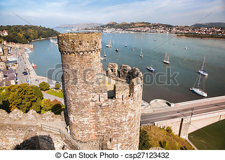 Stock Photos of Famous Conwy Castle in Wales, United Kingdom.
