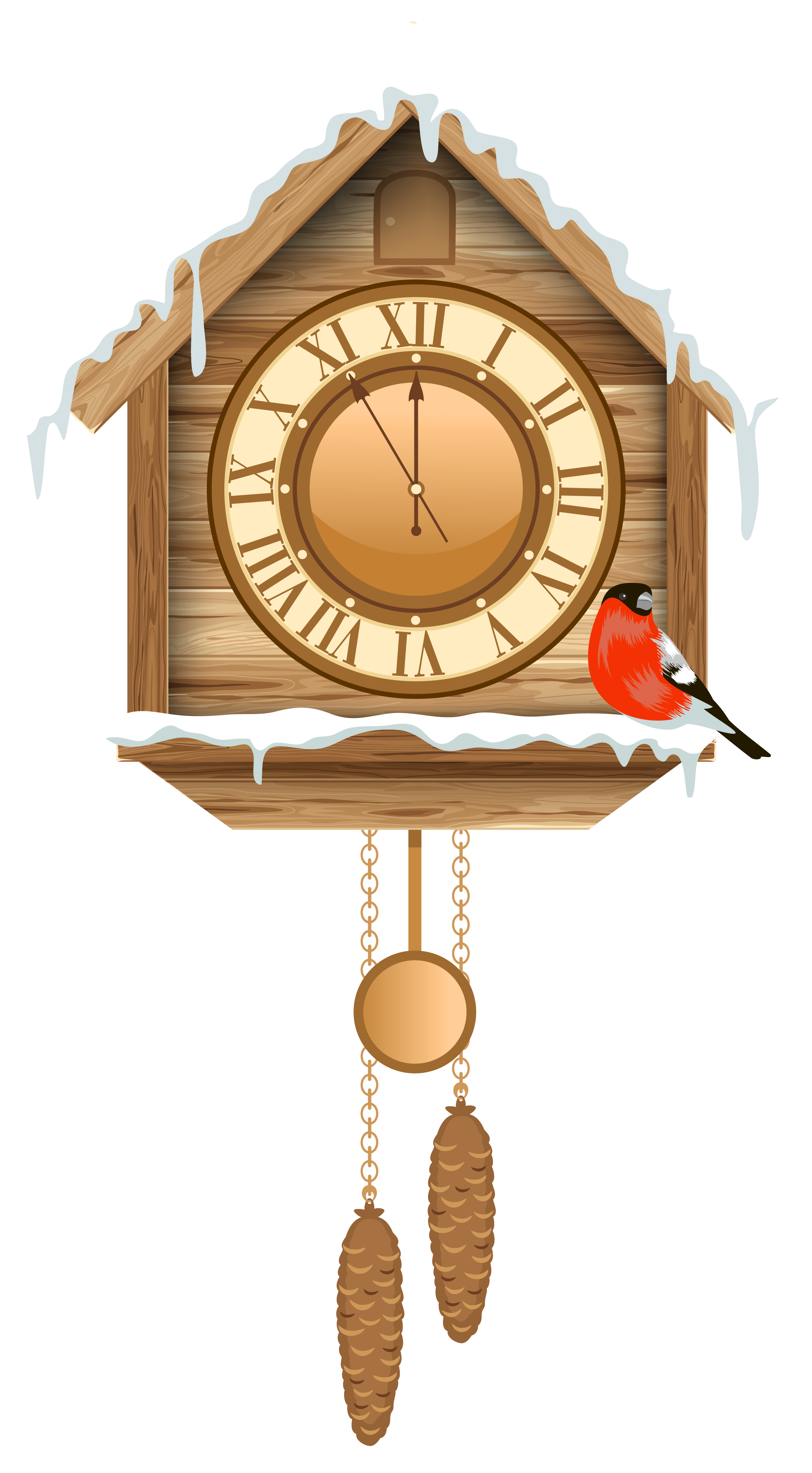 Christmas Cuckoo Clock with Snow PNG Clipart.