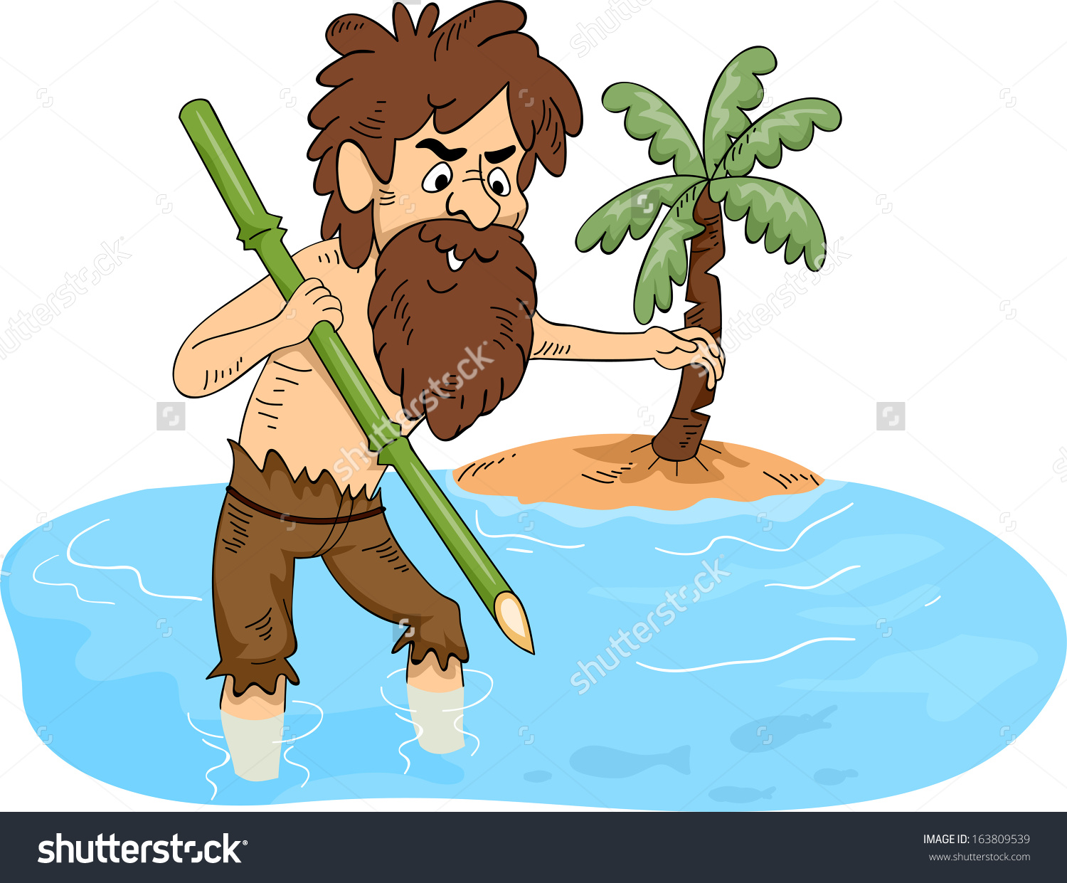 Stranded on an island clipart.
