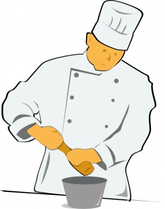 Clip art of a person cooking food.