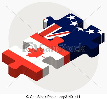 Vector Clip Art of Canada and Cook Islands Flags in puzzle.