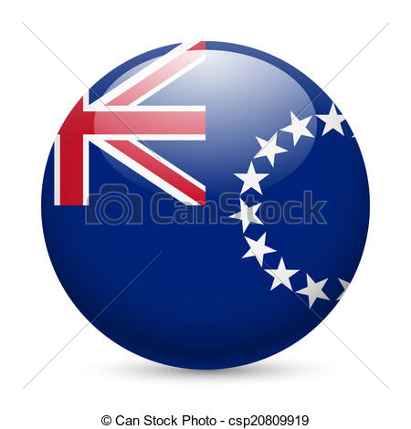 Vector Clip Art of Round glossy icon of Cook Islands.