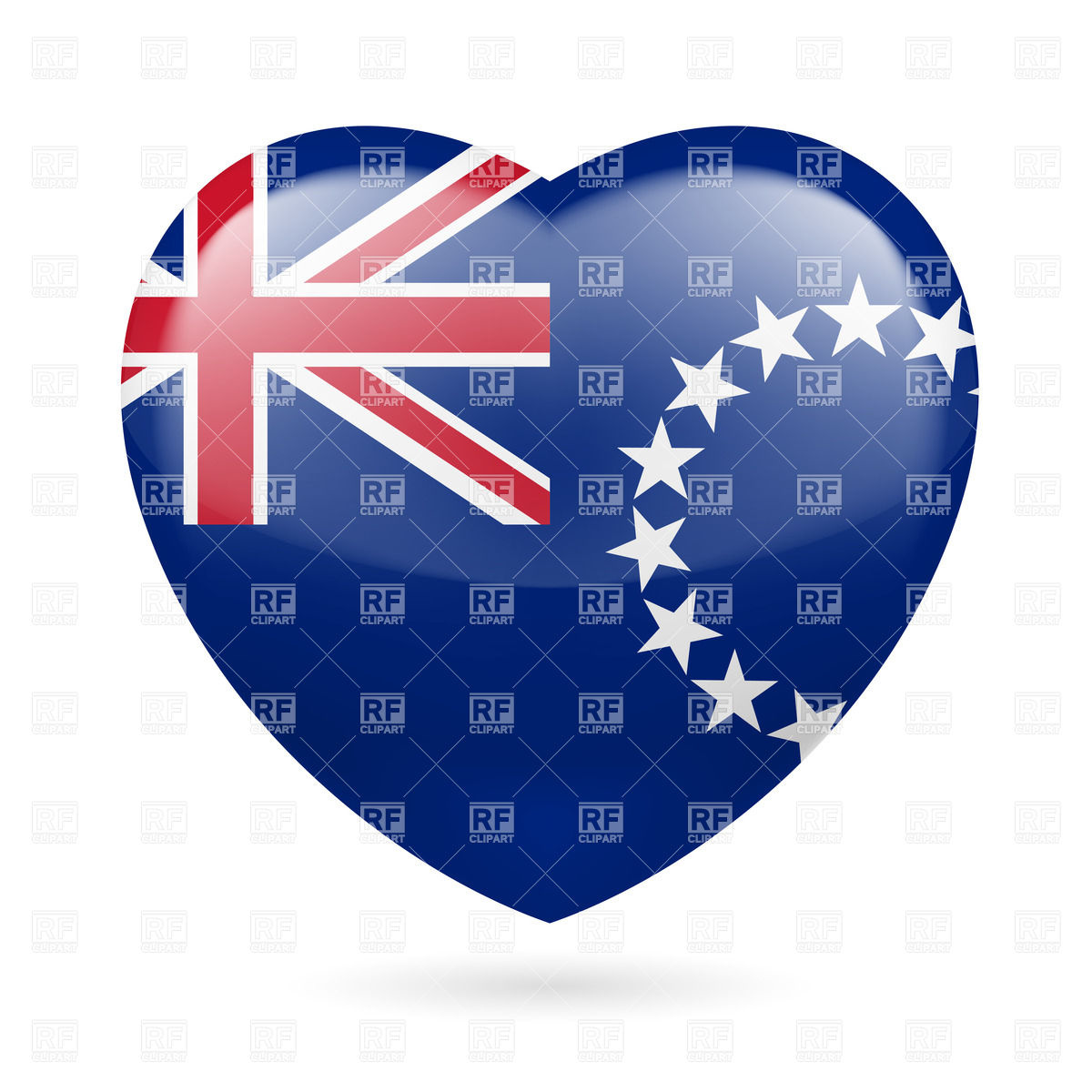 I love Cook Islands. Heart with flag design Vector Image #32267.