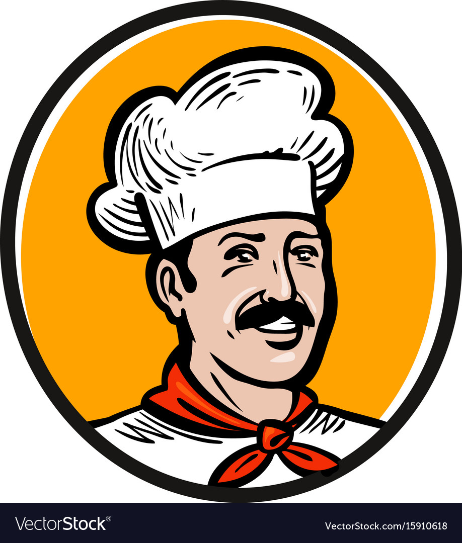 Chef cook logo label or icon for design menu.