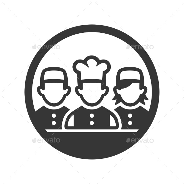 Chef Cook Logo Icon on White Background.